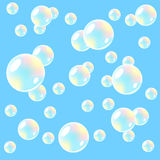 Air background with soap bubbles. Seamless. vector illustration