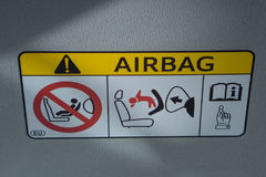 Air bag sticker label in car. Air bag sticker label in head of car royalty free stock photo