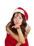 Air-baisers de la fille dans le costume de Noël Photo stock