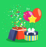 Air Ball Balloon Giftbox Gift and Confetti on Green. Backgound Royalty Free Stock Photos