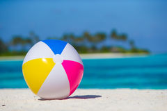 Air ball at white beach with turquoise sea and Stock Image