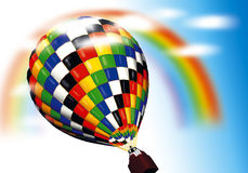 Air ballon. 3D abstract illustration with air ballon and rainbow Royalty Free Stock Photography