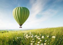 Air ballon above field with flowers at the summer time royalty free stock photography