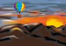 Air-ballon au-dessus des montagnes Photographie stock libre de droits