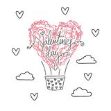 Air ballon in shape of heart, valentines day Stock Images