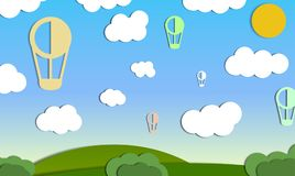 Air ballons in the sky stock illustration