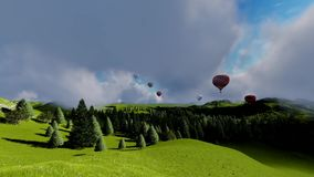 Air ballons under forest and mountains stock video footage