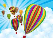 Air balloon. Clipart air balloons with sky & cloud background Stock Images