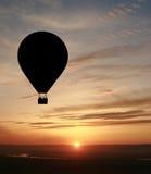 Air balloon. Hot air balloon with setting sun Stock Photo