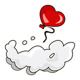 Air balloon. Air sphere in form of heart soars above cloud vector illustration