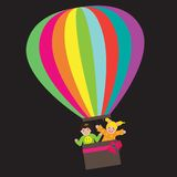 Air balloon. Illustration of kids on hot air balloon isolated over black background Stock Photo