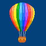Air balloon (aerostat). Color pixel art vector illustration. Airline service Stock Photography