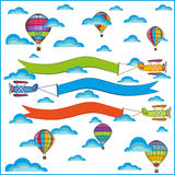 Air balloon and airplane composition Royalty Free Stock Photos