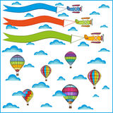 Air balloon and airplane composition Stock Photo