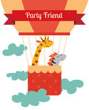 Air balloon animals print Royalty Free Stock Images
