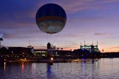 Air balloon ascending and colorful dockside of Disney Springs at Lake Buena Vista stock photo