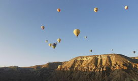 Air balloons, Balloon Tour with blue sky, colorful view. Air Balloons in Cappadocia, Ancient Region of Anatolia Royalty Free Stock Photo