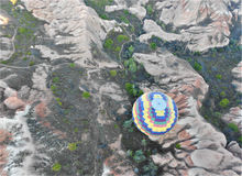 Colorful air balloon, Birds eye view. Air Balloon in Cappadocia, Ancient Region of Anatolia Stock Images