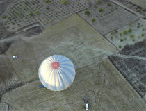Air balloon, Birds eye view. Air Balloon in Cappadocia, Ancient Region of Anatolia stock image
