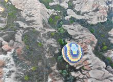 Air balloon in Cappadocia. Ancient Region of Anatolia royalty free stock photos