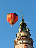 Air Balloon with castle tower, Cesky Krumlov, Czech Republic. Europe Royalty Free Stock Photography