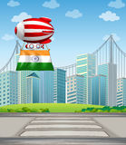 An air balloon in the city with the flag of India Stock Photography