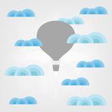 Air balloon in the clouds. Illustration of air balloon in the clouds Stock Photo