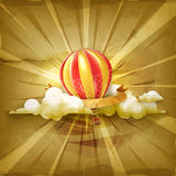 Air balloon and clouds. Old style vector background Royalty Free Stock Image