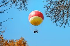 Air balloon in clouds over Yarkon Park , Tel Aviv royalty free stock photos