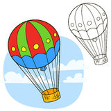 Air balloon. Coloring book page Royalty Free Stock Images