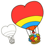 Air balloon. Coloring book page Stock Photography