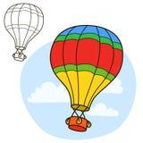 Air balloon. Coloring book page Stock Photo