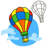 Air balloon. Coloring book page Stock Photo