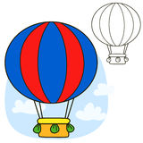 Air balloon. Coloring book page Stock Image