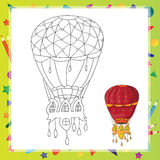 Air balloon Coloring book page Royalty Free Stock Image