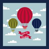 Air balloon design. Air balloon vehicle over sky background. colorful design. vector illustration Royalty Free Stock Photo