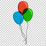 Air balloon flat vector icon. Birthday baloon illustration on is. Olated transparent background. Balloon business concept Stock Photography