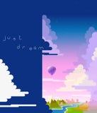 Air balloon flight abstract banner vector illustration