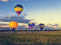Air balloon flying in the blue sky digital illustration. Colorful air balloons float summer show. Air balloon flying in the blue sky. Colorful air balloons float Stock Image