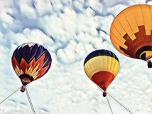 Air balloon flying in blue sky. Hot air balloons festival sketch banner template. Stock Image