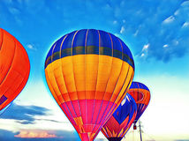Air balloon flying in the blue sky. Vibrant air balloons float exhibition in the countryside field. Romantic travel transport. Sunset sky with flight vehicle Stock Image