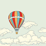 Air balloon flying in the clouds vector Royalty Free Stock Images