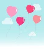 Air balloon flying hearts romantic concept Royalty Free Stock Photos