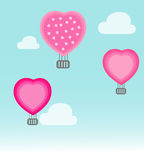 Air balloon flying hearts romantic concept Royalty Free Stock Image
