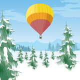 Air balloon flying over coniferous forest in a snowy valley vector illustration