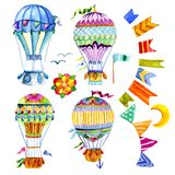 Air balloon and a garland of flags watercolor. Stock Photography