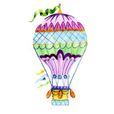 Air balloon and a garland of flags watercolor. Royalty Free Stock Photos