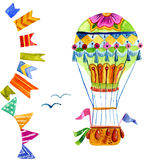 Air balloon and a garland of flags watercolor. Royalty Free Stock Photography