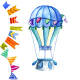 Air balloon and a garland of flags watercolor. Stock Image
