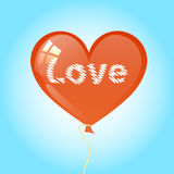 Air balloon. a heart with the word love. Stock Images